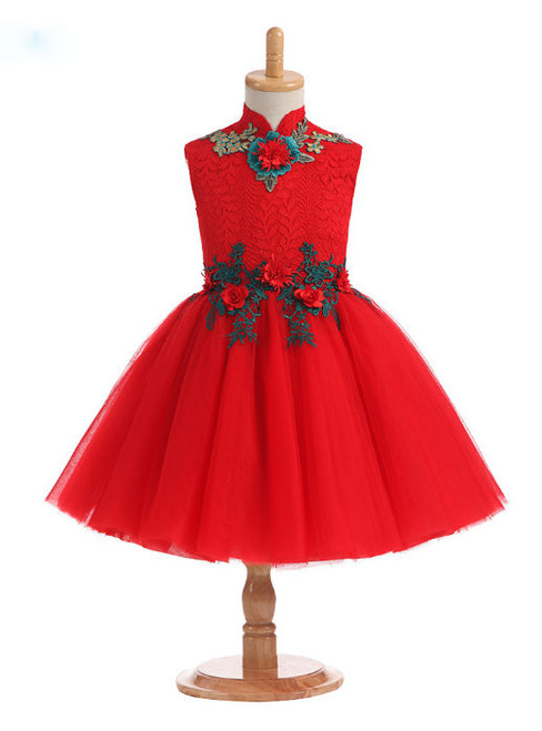 Brilliant 2017 New Arrival Ball Gown High Neck Ruby Flower Girl Dresses For Wedding Flowers