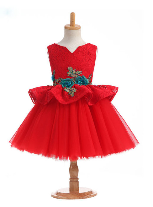 Gorgeous 2017 New Arrival Ball Gown Ruby Flower Girl Dresses for Weddings V Neck Flowers Appliques