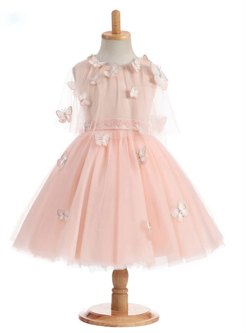 Pretty 2017 A-Line Scoop Real Photos Flower Girl Dresses Butterfly Appliques Satin