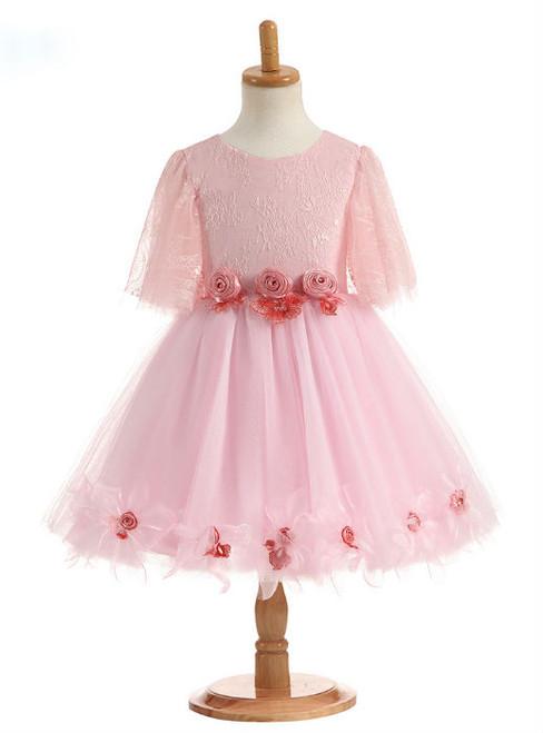 Charming 2017 Best Sale Flower Girl Dresses for Wedding Half Sleeve Flowers