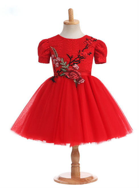 Lovely 2017 New Arrival Real Photos Ball Gown Ruby Flower Girl Dresses for Weddings