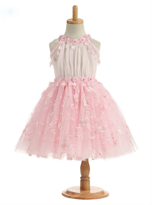 Adorable 2017 A Line Pink Real Photos Flower Girl Dresses Tulle Flowers Appliques