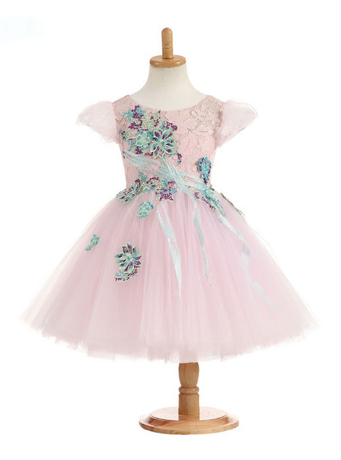 Cute 2017 Ball Gown Short Sleeve Scoop Real Photos Flower Girl Dresses Flowers