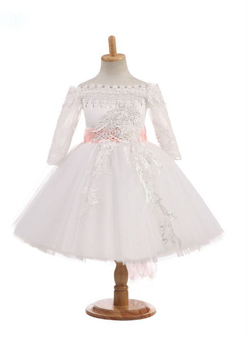 Unique 2017 Off The Shoulder Real Photos Flower Girl Dresses Tulle