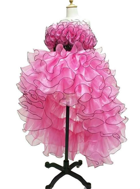 Stunning  Pink Ball Gown Tulle Flower Girl Dresses Real Photo Ruffles Tulle Short