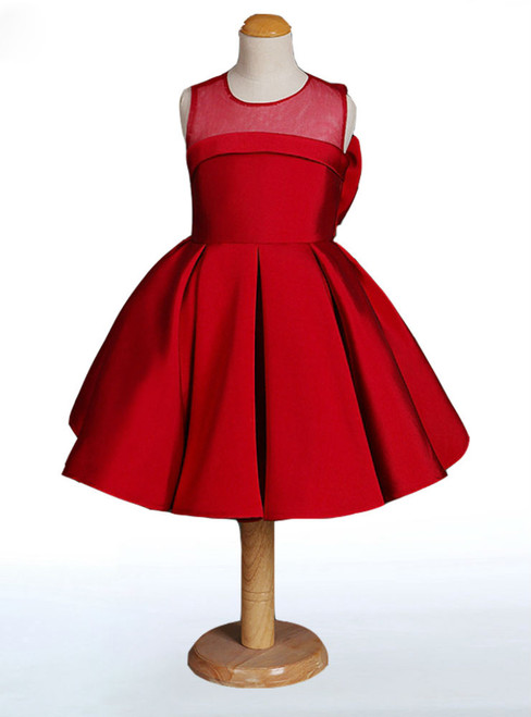 Hot Sale Red Flower Girl Dresses Stain High Quality