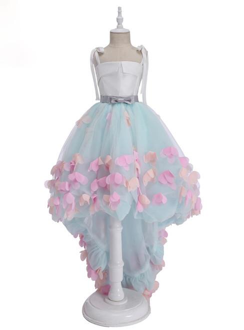 Fashionable Green Flower Girl Dresses for Wedding Short Front Long Back Appliques