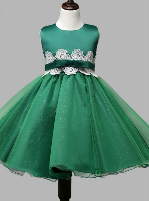 Fancy 2017 Emerald green pageant dresses for little girls ball gown
