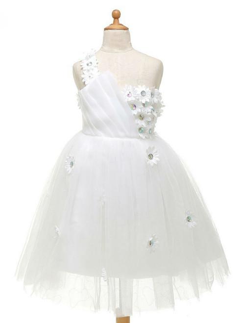 Fabulous One Shoulder White Flower Girl Dresses