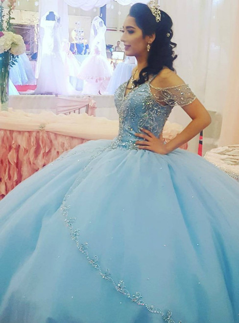 Sparkly Beading Bodice Blue Ball Gown Tulle Backless Quinceanera Dress