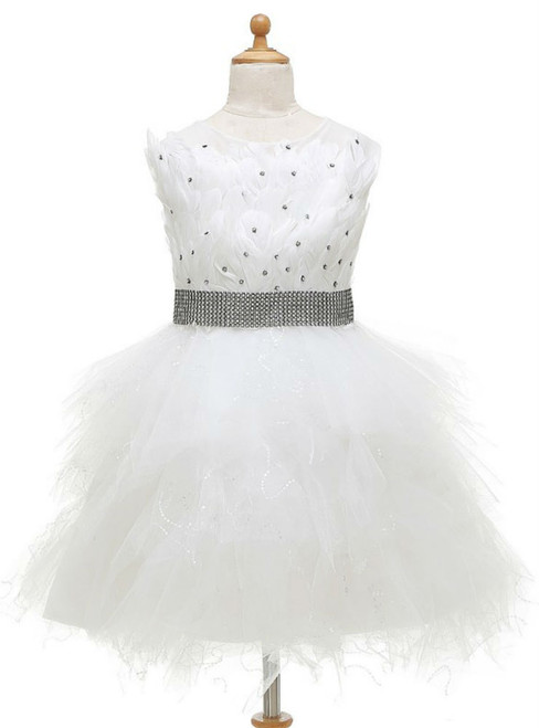 Casual Feathers Beaded Flower Girl Dresses For Weddings