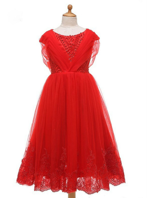 Princess Red Lace Flower Girl Dresses For Weddings 2017 For Little Girls With Bow