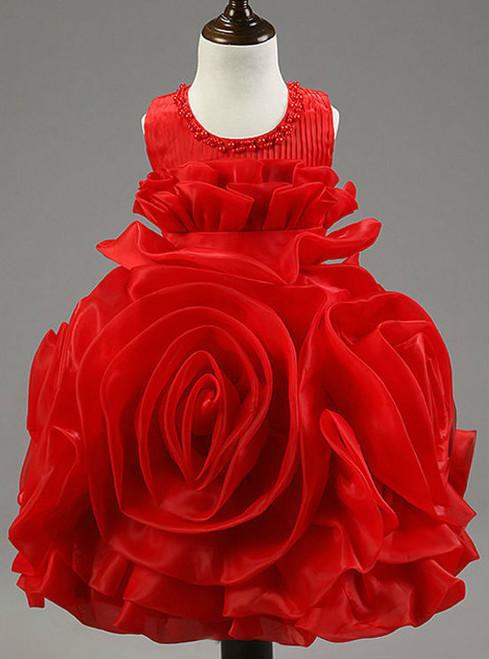 Queenly flower girl dresses for weddings sleeveless zipper back Girls rose ball gown dress short