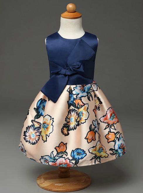 Vintage  little girls print flower girls dresses real photo cotton vintage