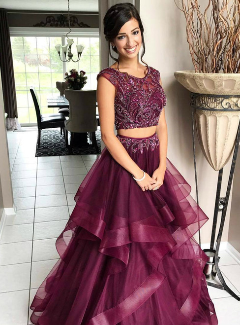 Luxury Two Piece Cap Sleeve Backless Beading Prom Dresses