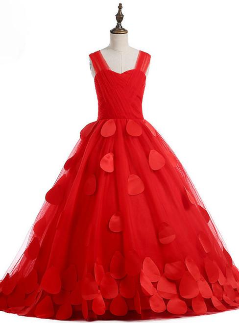 Modern Red Rose  Flower Girl Dresses first Communion Dresses For Girls