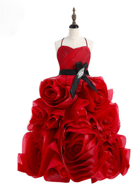 Chic Baby Flower Girl Dresses Red Rose Flowers Organza Sexy Sleeveless Flower Girl Dress