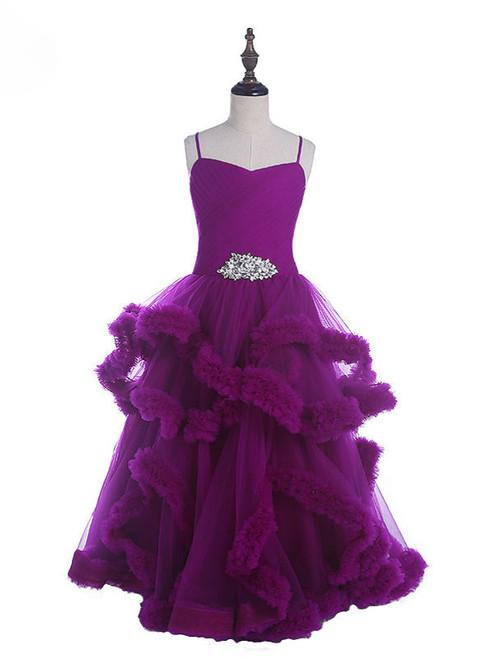 Brilliant Purple Diamond Tulle Flower Girl Dresses Sleeveless Pageant Dresses For Girls