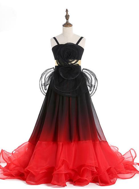 Wonderful Baby Sleeveless Gradually Color Tulle Flower Girl Dresses Ruffles