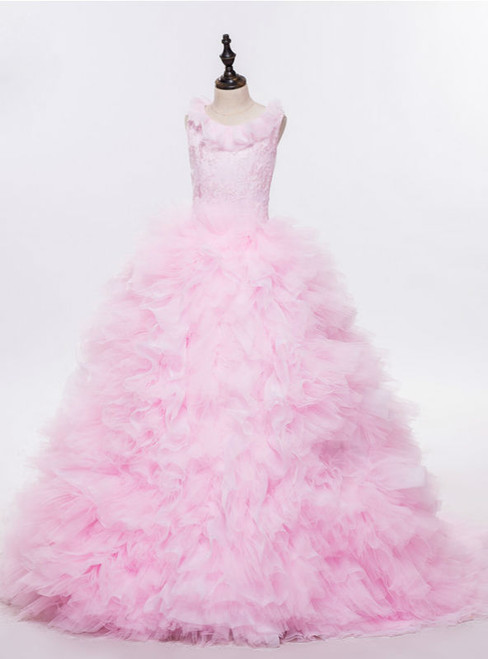 Gorgeous Pink Cloud  Flower Girl Dresses Cloud Baby Cloudy Puffy Ball Gown Flower Girl Dress