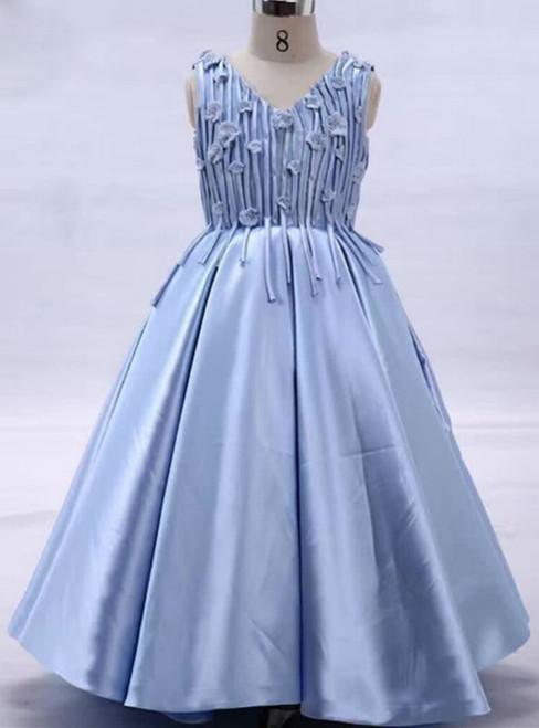 Adorable V-Neck Appliques Flower Girl Dresses Blue Sleeveless