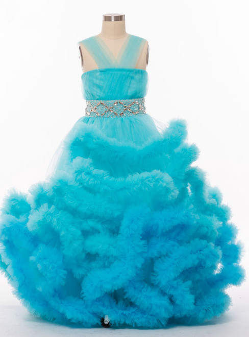 Fashion Blue Pageant Dresses For Girls Glitz Ball Gown Cloud Flower Girl Dresses