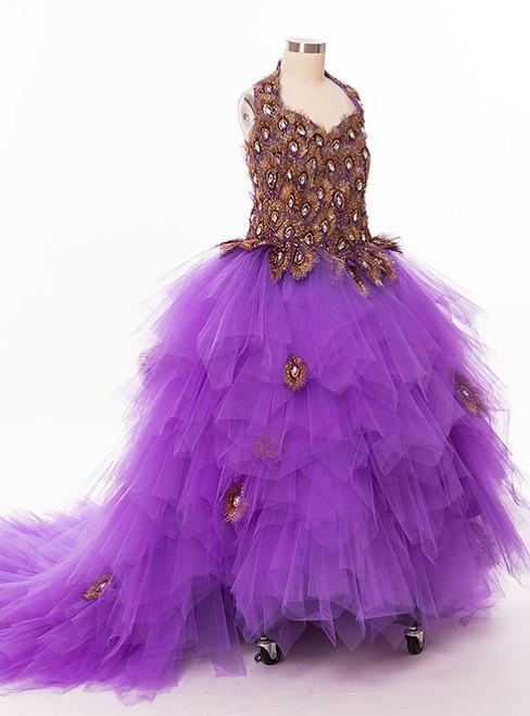 Graceful Purple Flower Girl Dresses For Weddings Party Dress For Girls Long