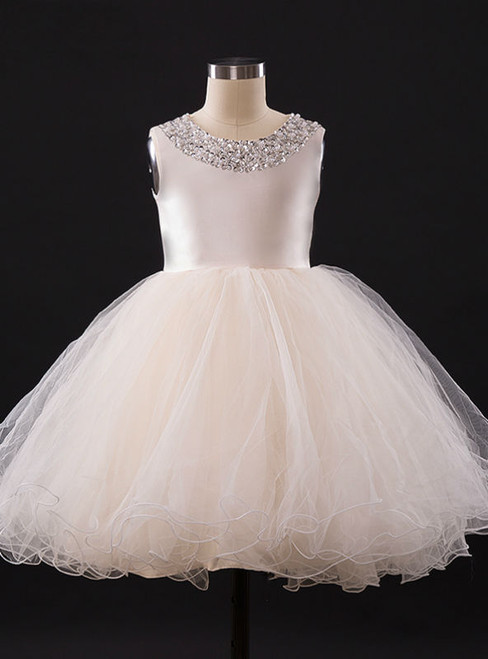Elegant A-line Champagne Flower Girl Dresses With Beading