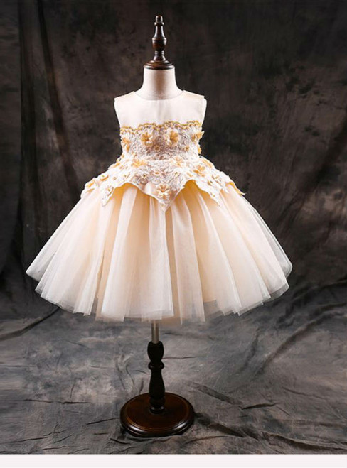 Fashion Flower Girl's Dresses First Communion Dress Birthday Zipper Princess Ball Gowns
