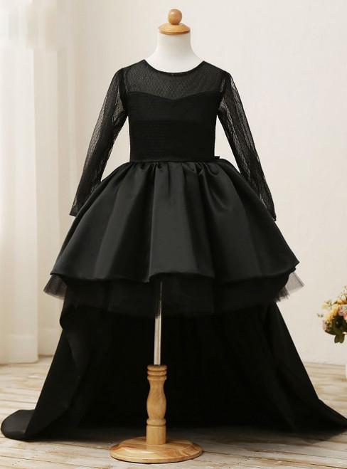 Fashion 2017 Black Flower Girl Dresses High Low Scoop Long Sleeves Floor Length