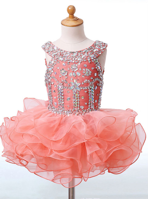 Simple Crystals Flower Girls Dresses for Wedding Kids Pageant Dress