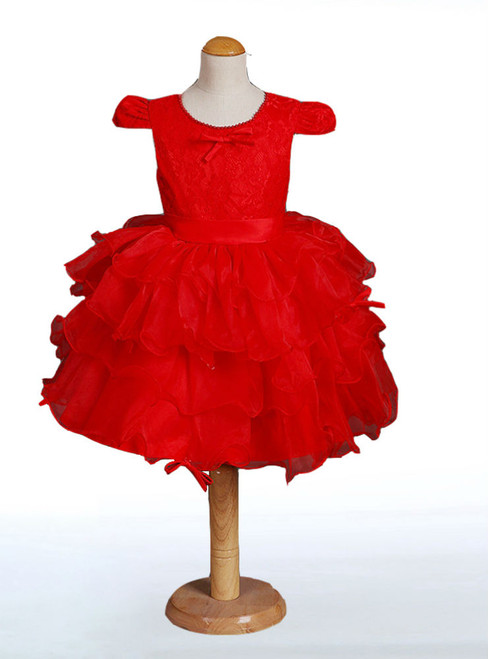 Lovely Cap Sleeve Cute O-neck Flower Girl Dresses With Lace Pearls