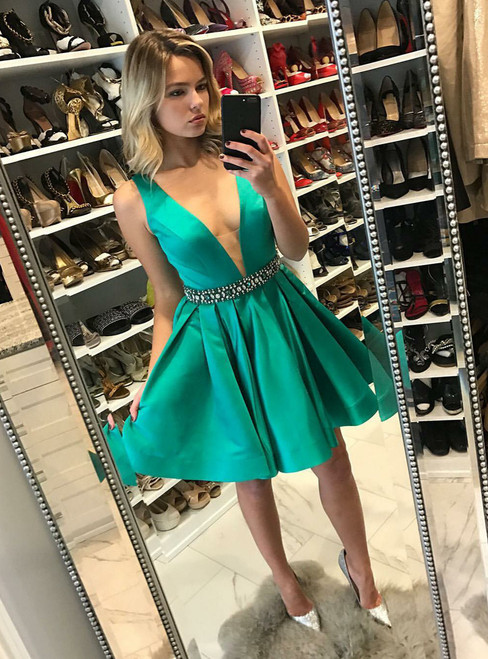 Deep V neck Satin Homecoming Dress ,Short Prom Gown with Beaded Waist