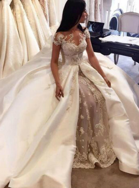 Latest 2017 Luxury New Overskirts  Wedding Dresses Bridal Gowns Lace Pearls Sheer Crew Neck Cap Sleeves