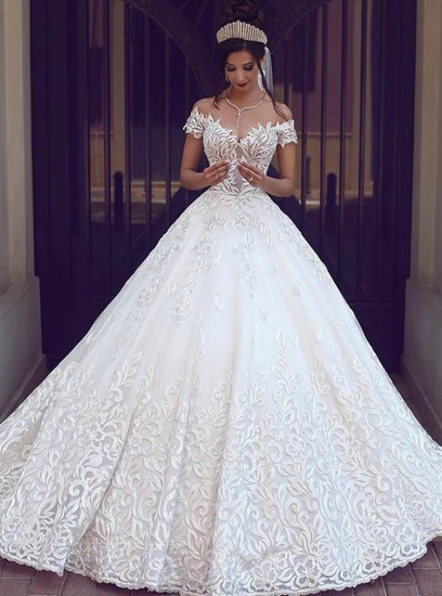 Amazing Pretty Ball Gowns Wedding Dresses Off the Shoulder Lace Bridal Dresses Charming