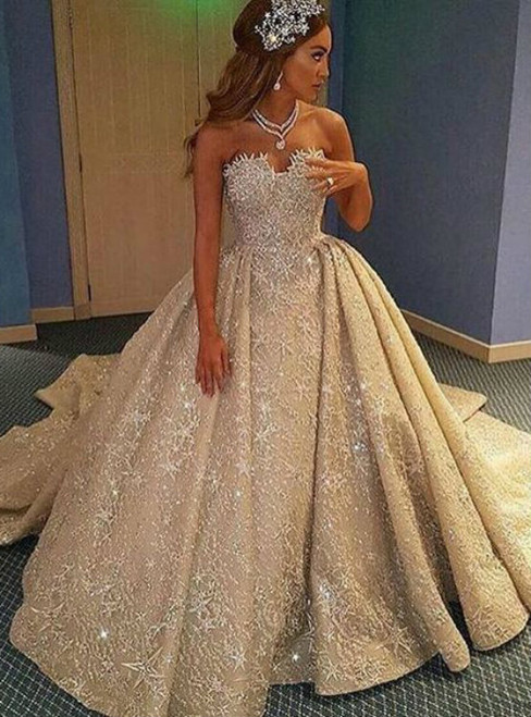 Trendy Luxurious A-Line Wedding Dress - Strapless Sleeveless Lace Court Train