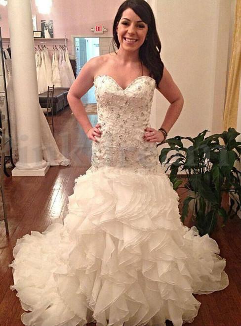 Fabulous  Sweetheart Mermaid Wedding Dresses Cascading Ruffles Crystal