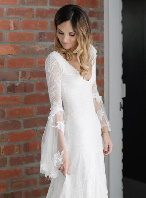 Fancy Bohemian Wedding Dresses with Sleeves Mermaid Wedding Dress Beach