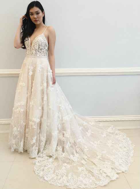 Attractive Sexy Straps White Lace Long Wedding Dress