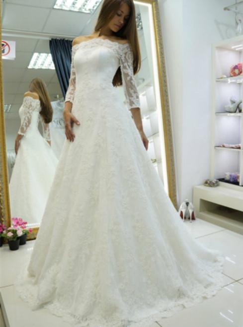 Impressive 3/4 Length Sleeves Off-The-Shoulder Appliques Wedding Dress