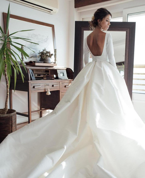 Nude Back Long Sleeves Satin Ball Gown Wedding Dresses