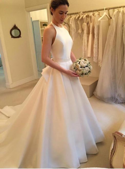Fairy Tale  Satin Wedding Dress Ivory Halter Simple Sleeveless Satin