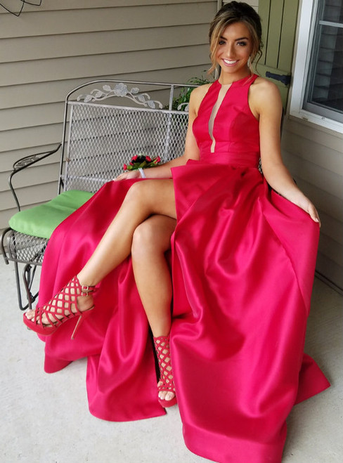 Sexy Side Slit Red Satin Long Prom Dresses Illusion Neck Party Gowns with Pockets