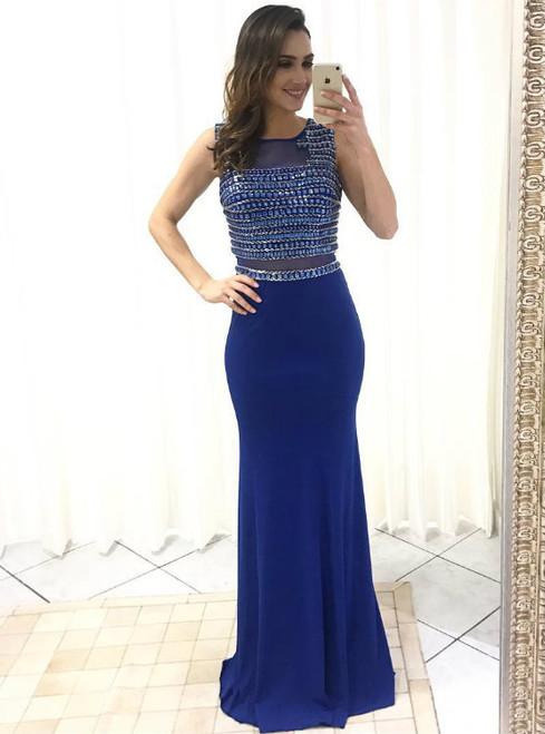 Crystals Beaded Dark Blue Chiffon Mermaid Prom Dresses Floor Length 2017