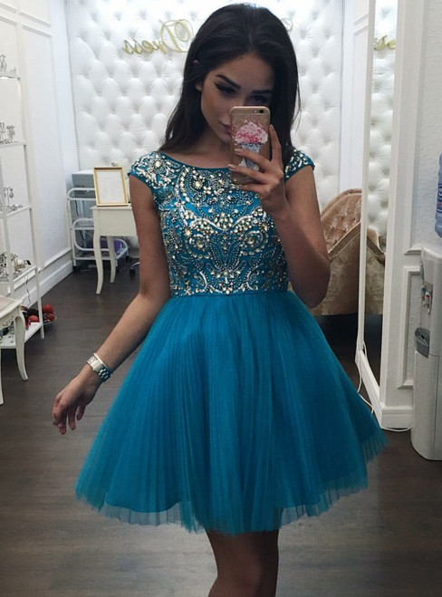 Beading Bodice Tulle Homecoming Dress ,Backless Short Prom Gown