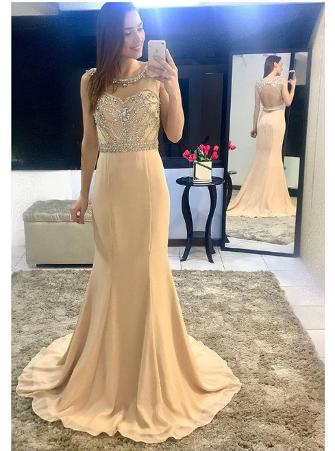Backless Prom Gowns Beading Bodice Champagne Chiffon Mermaid Evening Dress