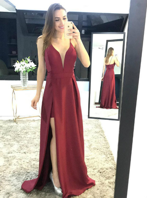 f5115a9fde6 Simple Satin Long Sexy Low V Neck Evening Dress in Burgundy Color