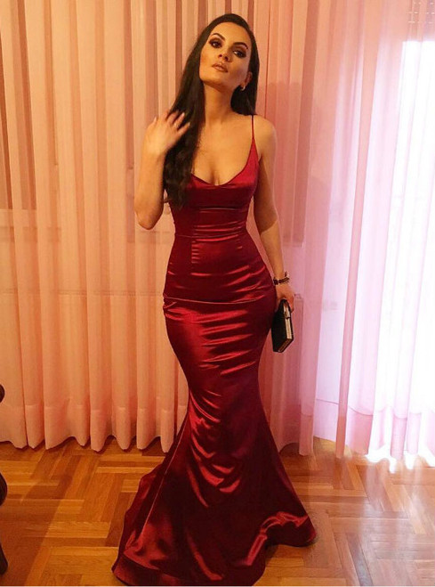 Hot Sale Simple Red Satin Mermaid Long Evening Dress Sexy Prom Gowns 2017