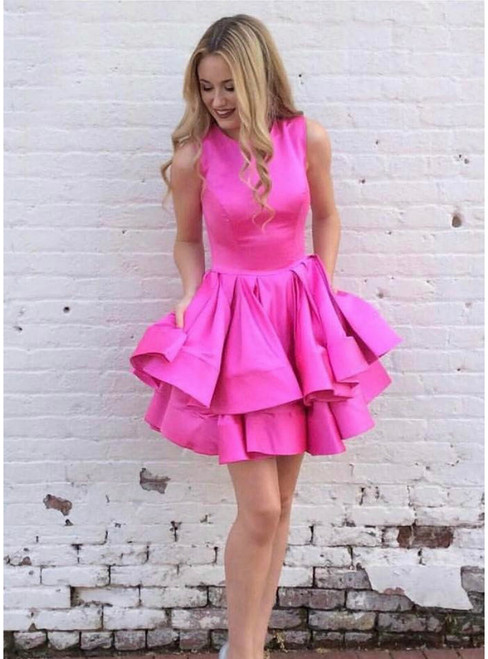 Tired Skirt Homecoming Dress ,Short Satin Party Ball Gown