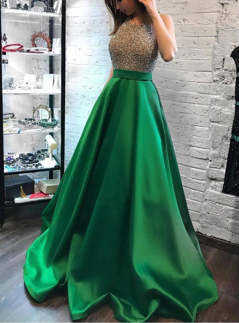 Simple Bling Beading Bodice Green Satin Halter Evening Prom Dresses with Pockets 2017